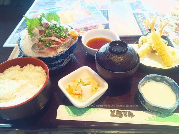 鰯の刺身と天ぷら定食1