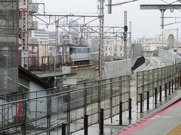 鴫野駅新ホームから放出方を見る。