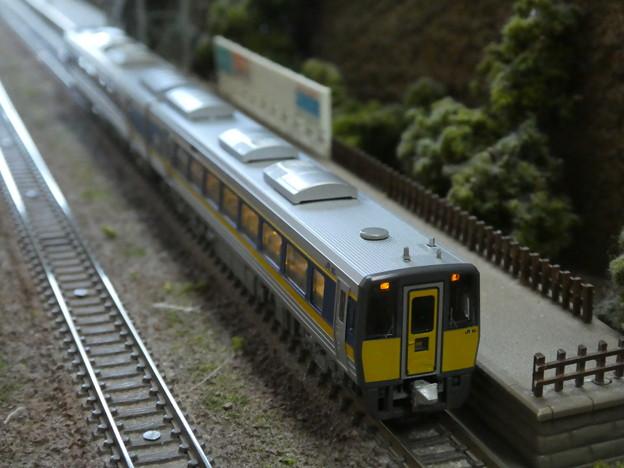 山の中の小さな駅に止まるキハ187系。