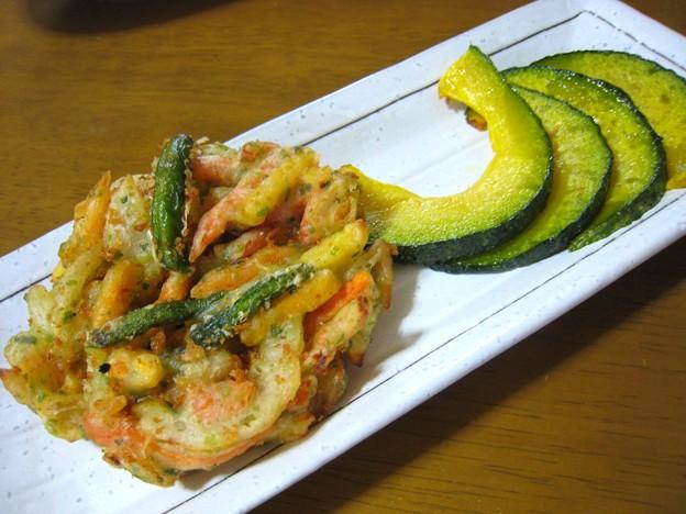 野菜のかき揚げと南瓜の素揚げ…