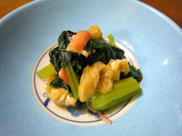 小松菜と油揚げとカニカマの煮物…