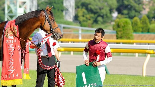 [140615東京11RエプソムC]四位J「おつかれさま」ディサイファ「やっと…重賞勝てたよ四位さん…」