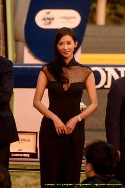 リン・チーリン(林志玲)さん「日本のみなさん、帰りに時計買ってそのまま台湾に来てくださいね~」【141130東京11Rジャパンカップ】 #JapanCup