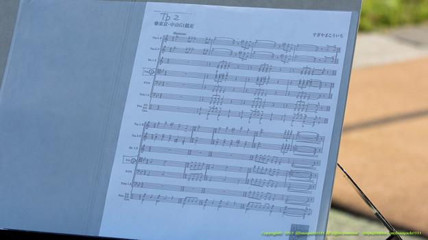 風に飛んでたN響の楽譜(トロンボーン2番の人の)。クラリティスカイ「なに撮ってるんだよ~」【150510東京11RNHKマイルC】