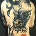 Photos: 水墨画刺青 唐獅子 刺青画像 タトゥー大阪 背中一面 TATTOO