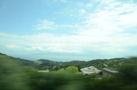 スペインからアフリカ大陸(バスで移動中のため見にくいですが)