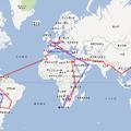 写真: 世界一周の経路