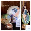 Photos: 文化のみち 橦木館:着物を着た女性のお皿と水着を着た女性の人形(磁器)