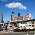 写真: 名駅ビル群をバックに走る新幹線 - 2