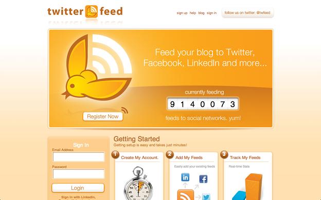 Twitterfeed:トップページのスクリーンショット