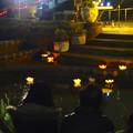 写真: 東山植物園 紅葉ライトアップ 2013:池に浮かばせた花型の灯籠 No - 4