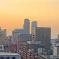写真: スカイボートから見た景色 No - 089:夕焼け空と名駅ビル群