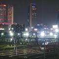 写真: 夜の向野橋から見た景色 No - 59:名駅ビル群と名古屋車両区