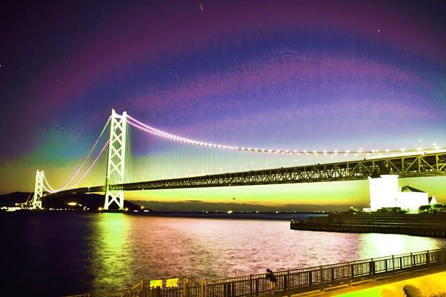 明石海峡大橋夕景-ドラマチック(4)