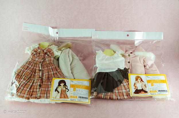 Photos: 天使の衣-ベージュダウンコートセット&ピンクダウンジャケットセット