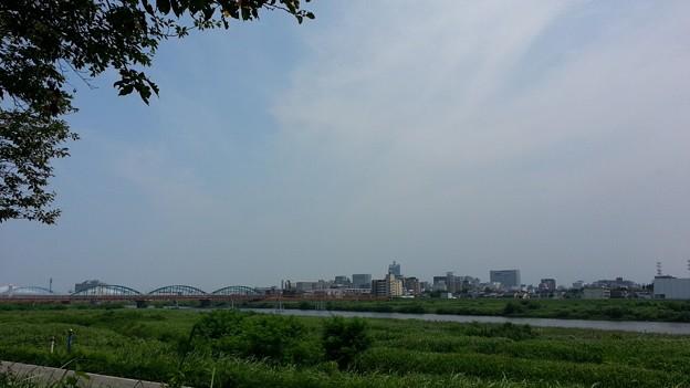 (M)神通川河川敷より富山市街を望む