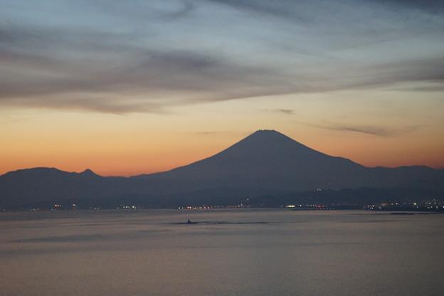 日暮れの富士