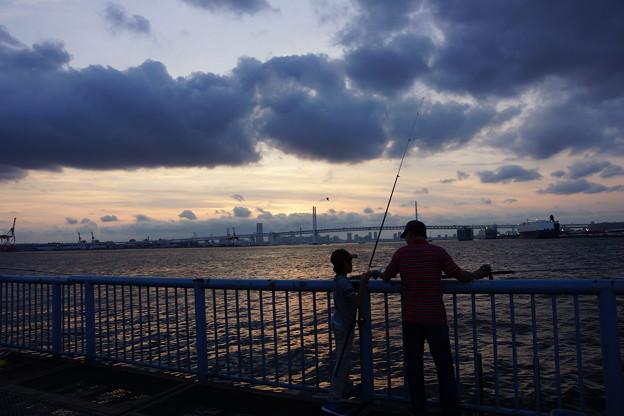 釣りの親子