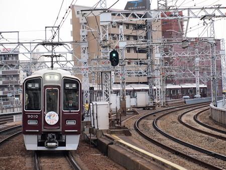 阪急9000系普通 西山天王山開業HM付き 阪急宝塚線中津駅