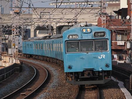 103系6連普通 阪和線美章園駅