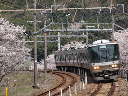 223系 紀州路快速だけど白幕 阪和線山中渓駅