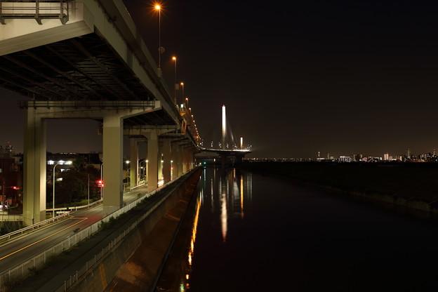 四つ木の高速道路下の夜景