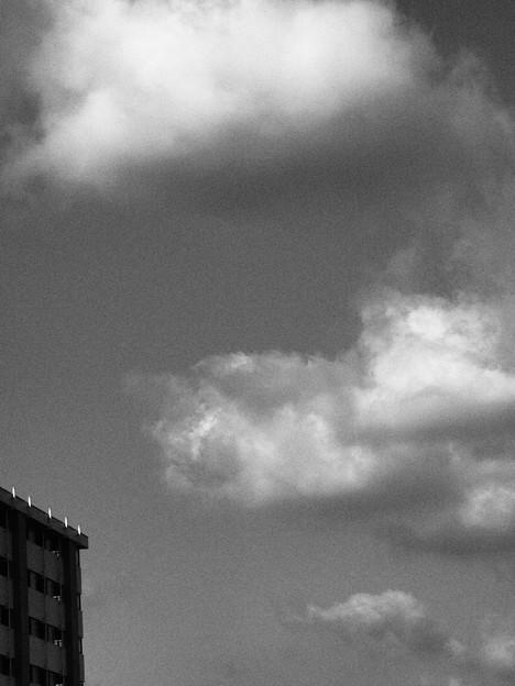 「冬空と雲」~アートフィルター「ラフモノクローム」