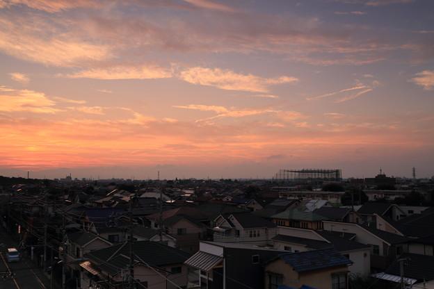 初秋の夕焼け雲