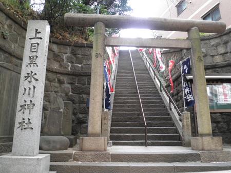 上目黒氷川神社-01a鳥居・参道・大山道標