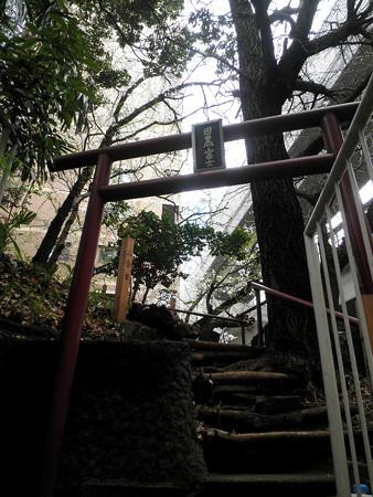 上目黒氷川神社-目黒富士登山-02鳥居と二合目標