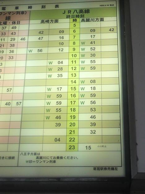 寄居で八高線を下車。駅の時刻表\u2026ワンマン運転を「W印」って。ローマ.