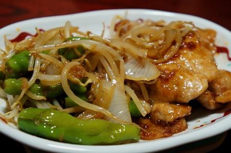 豚肉の生姜焼き もやし&玉ねぎ&しし唐炒め