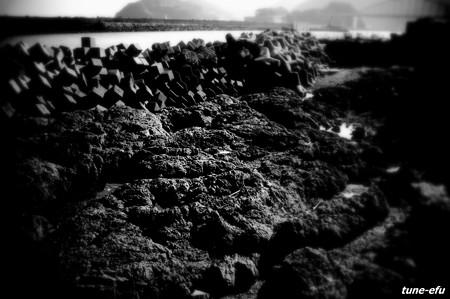 消波ブロックのある岩場