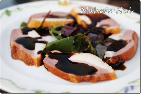 リーフサラダと鴨の燻製