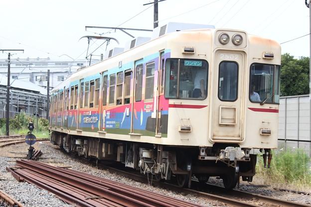 銚子電気鉄道2002F下り列車(イオン銚子ラッピング期)