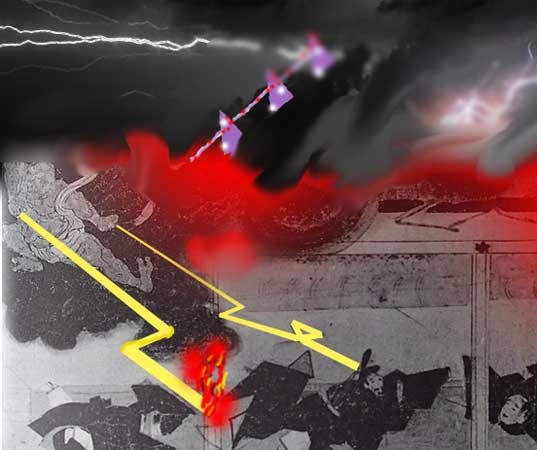 紫宸殿落雷炎上 :The Hall for State Ceremonies was burned by lightning.