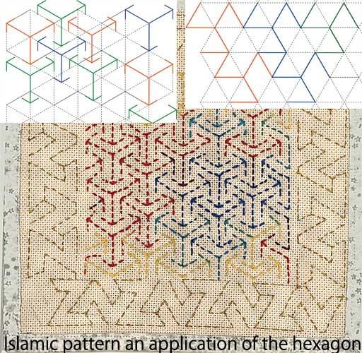 Islamic pattern.イスラム文様:An application of Hexagon.六角形の応用
