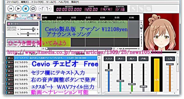 Cevio; Speech synthesis software,Announcements and singing/音声合成ソフト