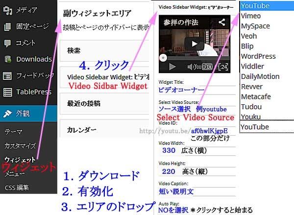 Video Sidebar Widget/サイドバーに動画をはめ込む