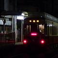写真: 夜の飛鳥山電停にて…2014.3.17