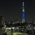 東京スカイツリーと100系サニーコーラルオレンジ 【特急】きぬ