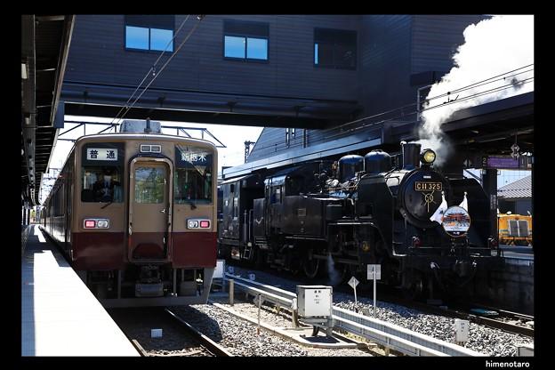 914列車とSL大樹1号