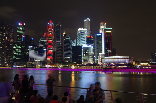 Night view of Marina bay