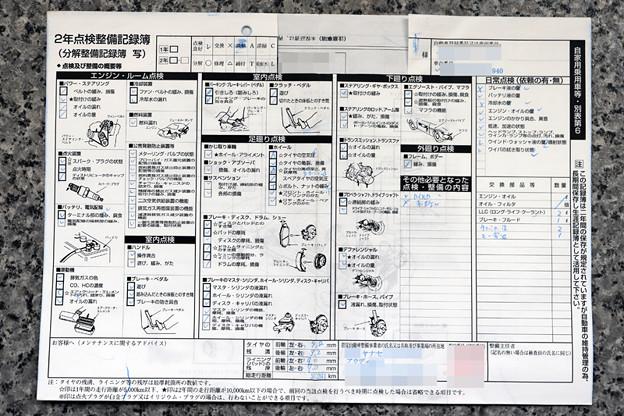 平成29年11月 ディーラー整備記録簿
