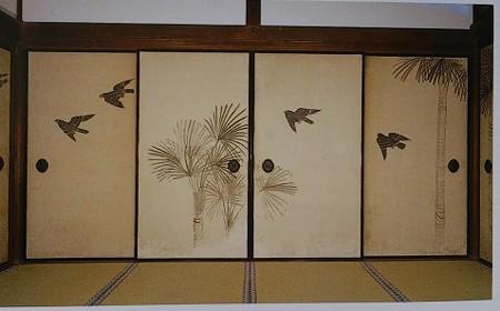 銀閣寺 方丈(本堂)襖絵 与謝蕪村 棕櫚に叭叭鳥図