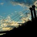 落陽直前と陸橋のsilhouette