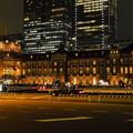 2012/10/1に100年前の姿に戻った夜の東京駅の夜景2