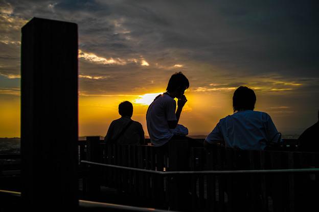 夕陽、シルエット