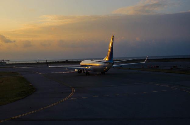 Photos: 夕陽を浴びて離陸