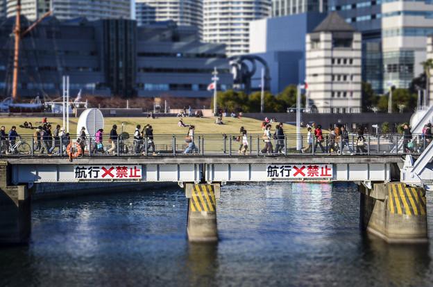 鉄橋を渡る人々@diorama